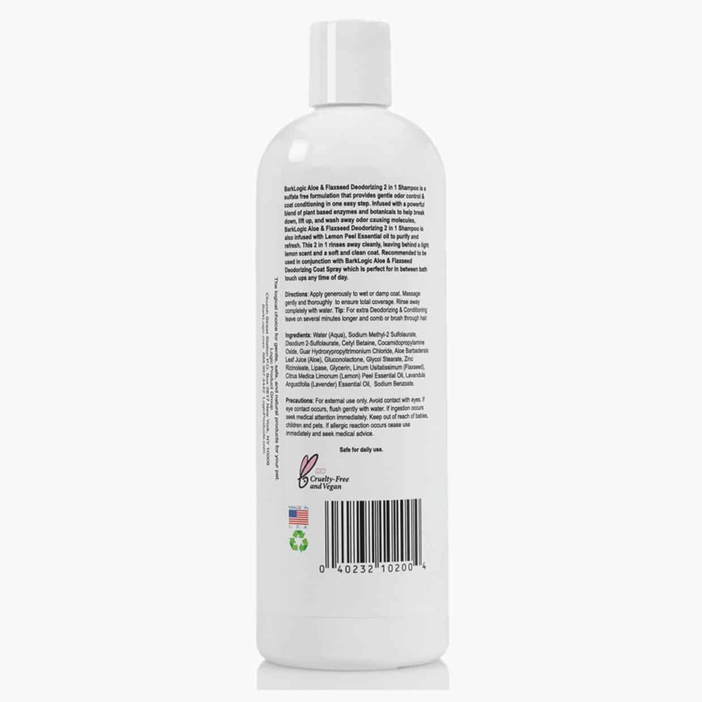 BarkLogic Aloe & Flaxseed Deodorizing 2 In 1 Shampoo Lemon