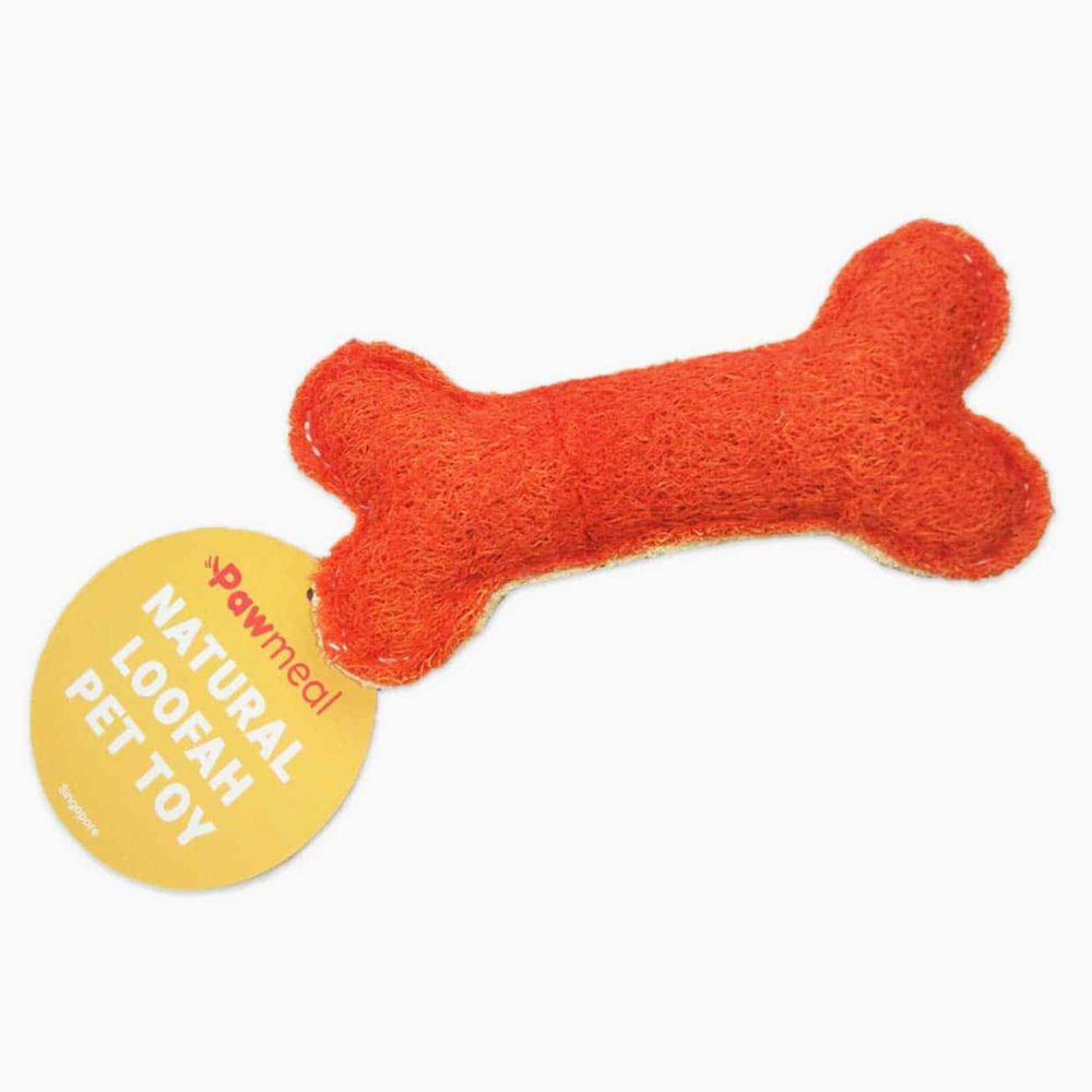 Pawmeal Loofah Bone Toy Red