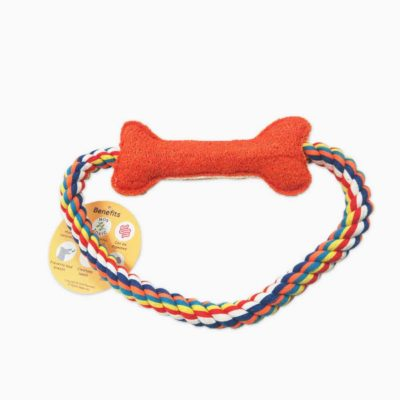 Pawmeal Loofah Bone With Rope Toy Red