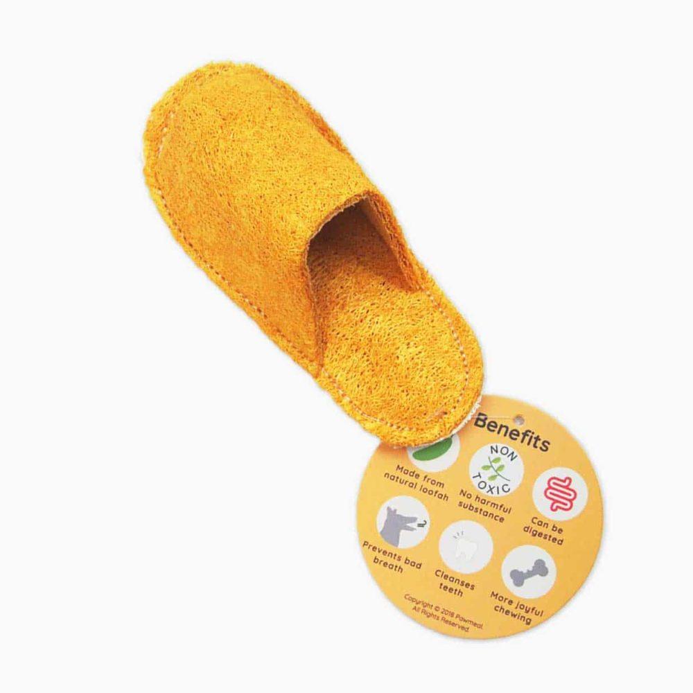 Pawmeal Loofah Slipper Toy Golden Yellow