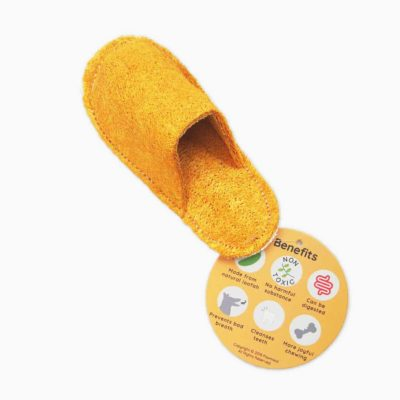 Pawmeal Loofah Slipper Toy Golden Yellow