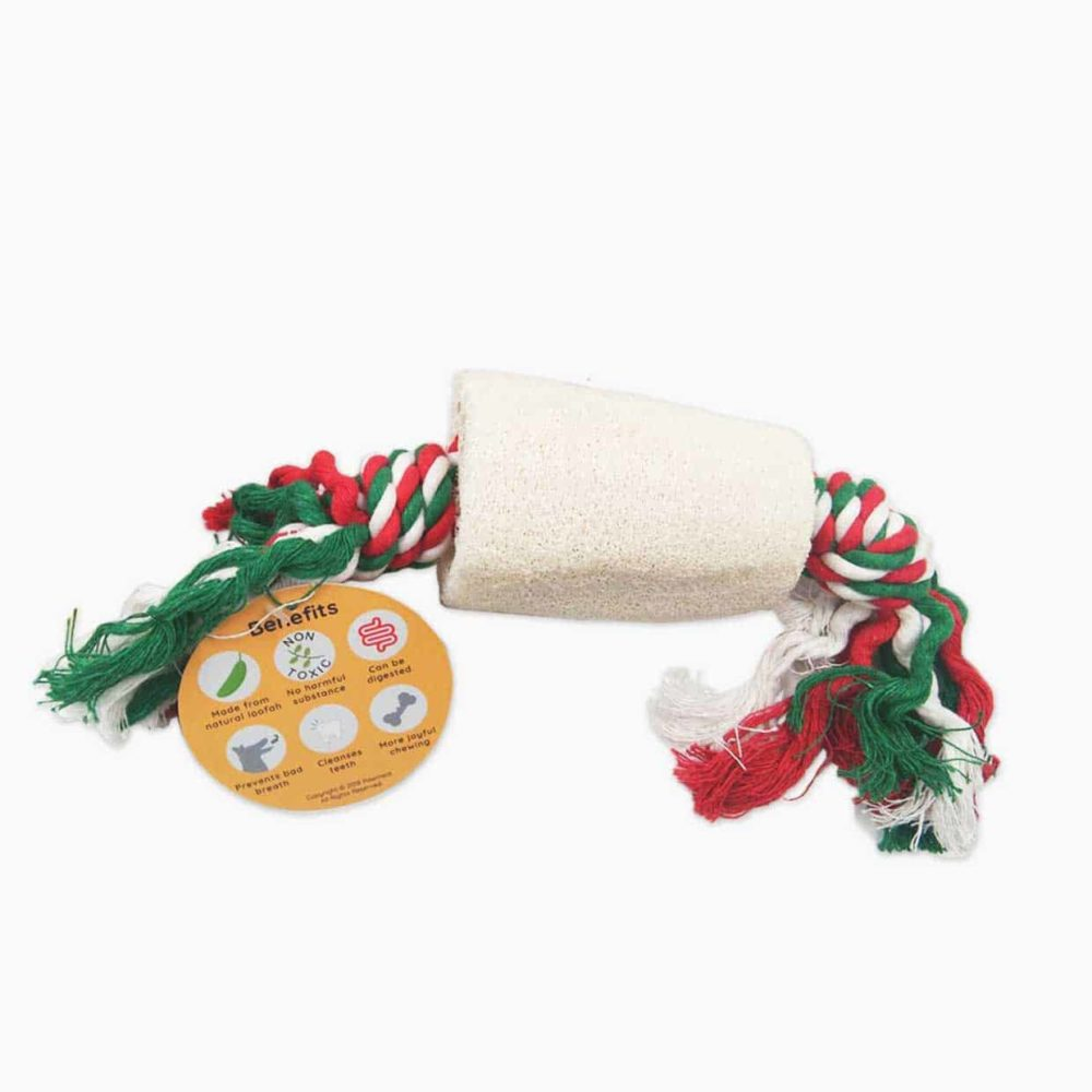 Pawmeal Loofah Tube With Rope Toy Natural White
